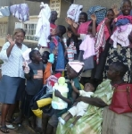 ABA Foundation destitute children receive gifts of cloths from Dr. Margaret Kiyimba